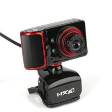 HXSJ USB Wired Webcam Rotatable Focus Angle Clip Style PC Camera With Microphone And LED Light Support Skype Desktop