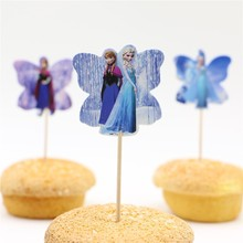 24pc/lot Butterfly Shape Kids Favors Birthday Party Elsa Anna Party Cupcake Cake Toppers Picks Princess Wedding Cake Accessories