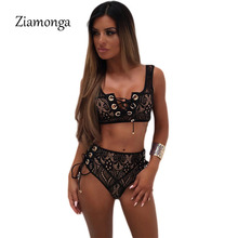 Ziamonga 2017 High Quality Lace Up Bodysuit 2017 Sexy Inner Wear Leotard Cropped Summer Hollow Out Beach Club Jumpsuits Romper(China)