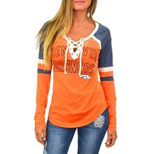 2017 Autumn Fashion Women T-Shirts Stripe Lace Up V Neck Long Sleeve Letters Printed Splicing Orange Tops Casual Fall Tees(China)