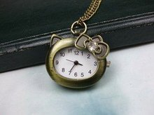 2012 Free shipping hot sale wholesale ladies mens New Retro style Bronze Pocket Watch Pendant Necklace,Hello kitty crystal wp454(China)