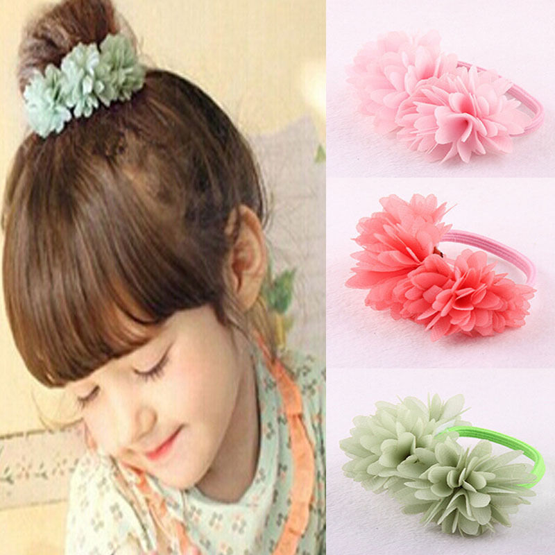 Lovely Girls Chiffon Flower Hair Rope Rubber Band Baby Girls Hair Accessories CN<br><br>Aliexpress