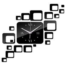 2016 new arrival home decoration acrylic mirror wall clock safe modern design large digital quartz watch sticker free shipping