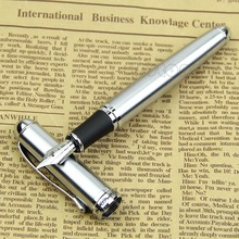 Luxury Brand Jinhao X750 Silver Stainless Steel Fountain Pen Medium 18KGP Nib School Office Name Ink Pens Gift Stationery(China)
