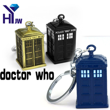 Doctor Who 3D Police Box Cupreous Pendant Key Chain TARDIS Key Rings For Gift Chaveiro Car Keychain Movie Key Holder Souvenir(China)