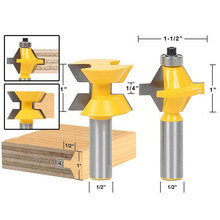 120 Degree Milling Cutter Lock Miter Finger Joint Glue Router Bit Tenon Cutter Tool W/1/2Inch Shank Woodworking