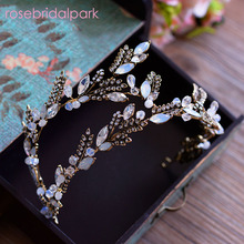 Rosebridalpark 2017 Magnificent Rhinestone Bridal Tiaras Headband Gold Baroque Crystal Diadem For Brides Crown Hair Jewelry t857(China)
