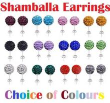 10mm Clay Mixed Multicolor white Black best Crystal Micro Pave Disco Ball Silver Plated Shamballa Earrings Stud for women