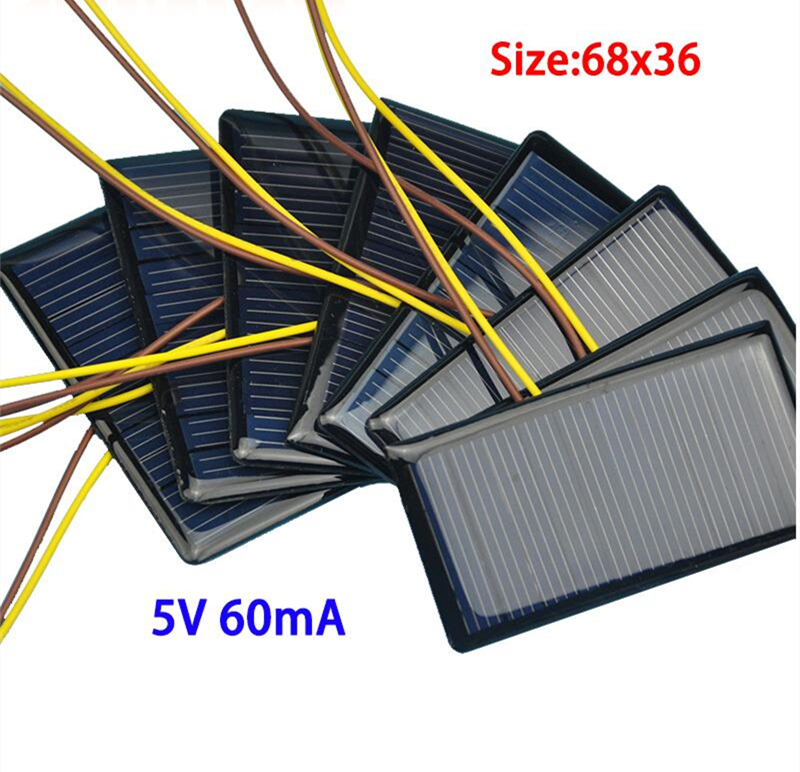 10PCS 5V 60mA 68*36 Micro Mini Solar Cell Panel Battery Charger for DIY Projects(China)