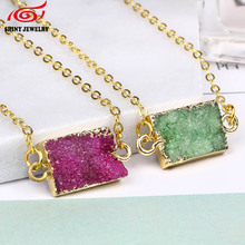 Hot Wholesale Natural Stone Necklaces Titanium Rectangle Green Crystal Rock Quartz Druzy Connector Jewelry Necklace Gold Plating