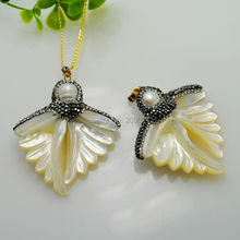 Fashion ~ 4Pcs Druzy Angel Wings Shell Pearl Rhinestone Crystal Charms Pendants Jewelry Making