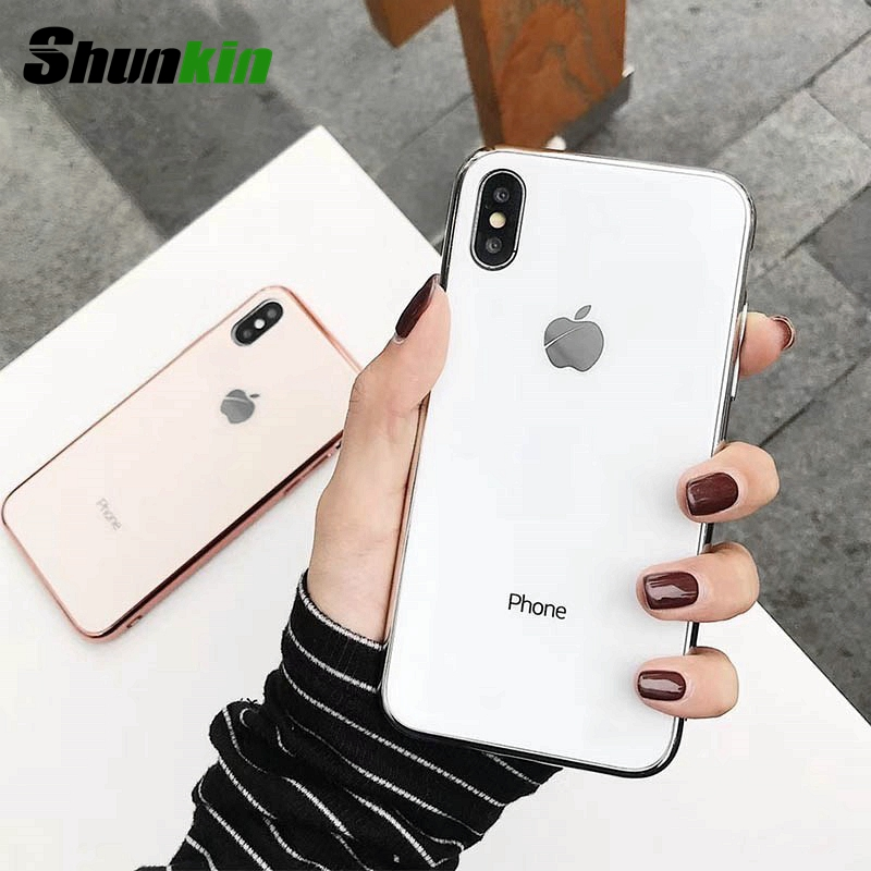 For iphone XS Max X 8 8 Plus 7 7 Plus 6 Case Tempered Glass Cover Soft TPU Edge Case For iphone X 7 8 6S 6 Plus Coque Funda Euti(China)