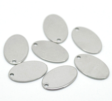 LASPERAL Charms 20pcs Silver Color Stainless Steel Oval Pendants Blank Stamping Tags Necklace Pendant For Jewelry Making 19x12mm