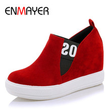 ENMAYER Spring Autumn Casual Women Flats Shoes Round Toe Elastic Band Platform Large Size 34-45 Black Red Gray