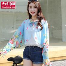 Spring Flower Print Woman Scarf/Scarves Butterfly Sunscreen Dress Shawl Beach Cover Up Beach Pareo Female Sarong Polyester Wraps(China)