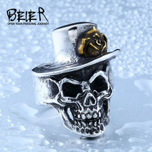 BEIER New Store 316L Stainless Steel Man`s Ring With Skull With Gold Rose Flower Hat Ring Biker Jewelry BR8-418