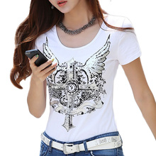 Buy 2017 Punk Rock T shirt Women Silver Angel Wing Print T-shirt Summer Style Women Top Tee Shirt Femme Tops Tops T shirts Clothing for $7.91 in AliExpress store