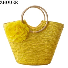 2017 New Rattan Handle Woven Bag Flowers Straw Bag Leisure Vacation Tote Beach Bag For Women Luxury Handbags Designer MXH01(China)