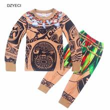 DZYECI Maui Costume For Baby Boy Set Clothes Moana Vaiana Cosplay Winter Child Boutique T Shirt Trouser Tracksuit Kid Outfit(China)
