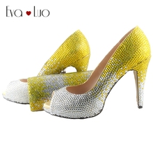 BS030 Handmade Yellow Italian Shoes With Matching Bags Set Crystal Dress Pumps Bridal Wedding Shoes Prom Shoes Women Big Size