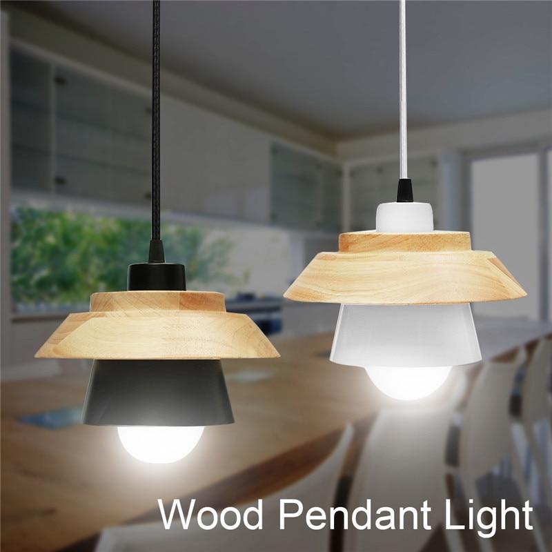 Smuxi E27 Wood Pendant Lights LED Pendant Lamp Modern Iron Suspension Luminaire Wood Hanging Lightings Kitchen Dining Room<br>