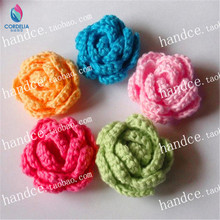 6 pcs the best selling high quality fashion natural cotton crochet rose petal as wedding decoration flower DIY handcraft flower(China)