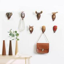Vintage Home Decor Wall Hanger Retro Cafe Bar Shop Wall Hanging Animal Stereo Deer Head Coat Hooks Home Clothes Hat Hooks 35