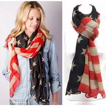 American Flag Scarf Vintage USA Flags Infinity Scarves 4th of July Women Square Scarfs Shawls Hijab Girls Accessories A0408