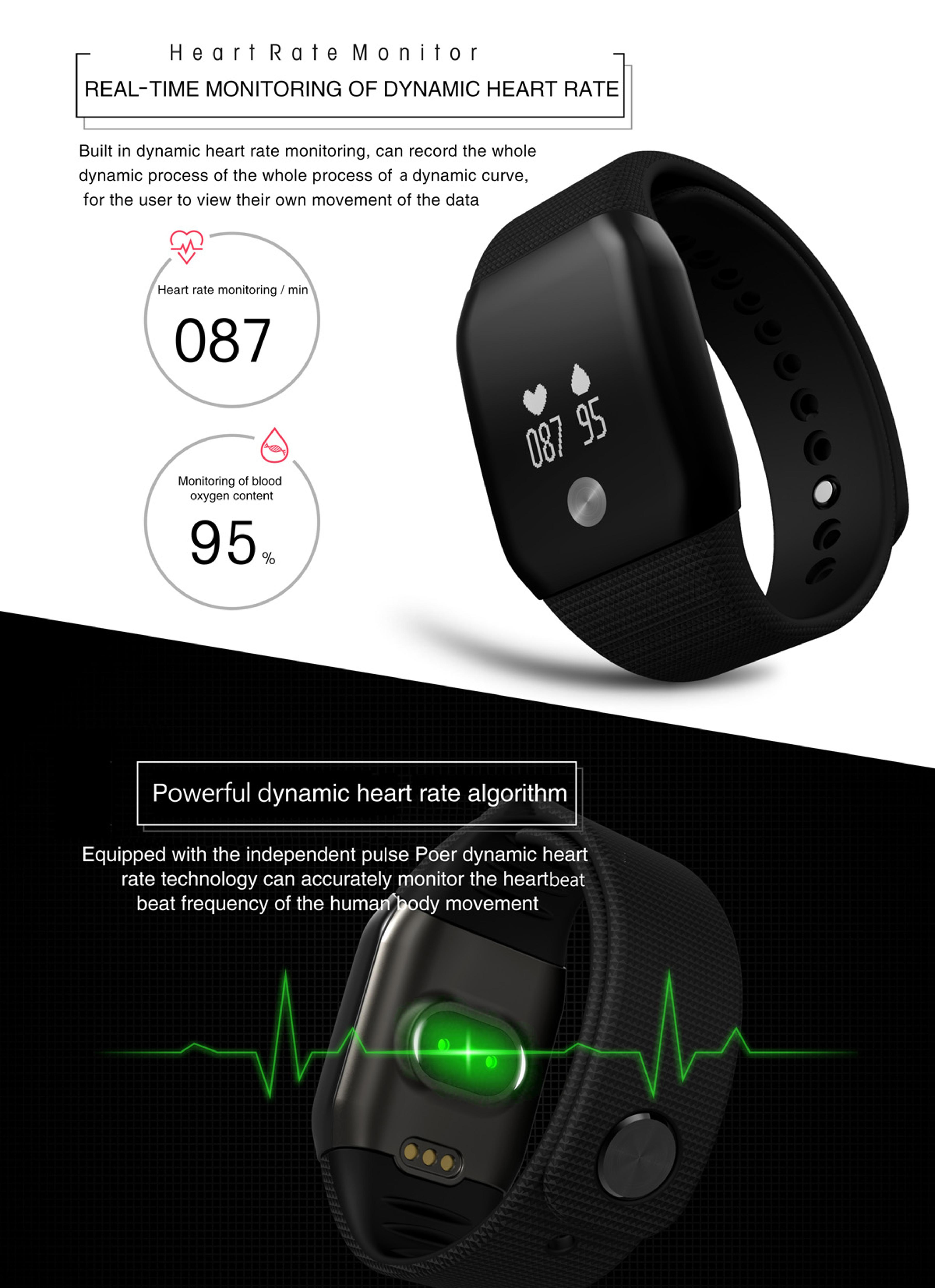 A100 Smart Bracelet Sport Pedometer SmartBand Heart Rate Fitness Watch Blood Oxygen Pressure Monitor Wristband For iOS Android 4