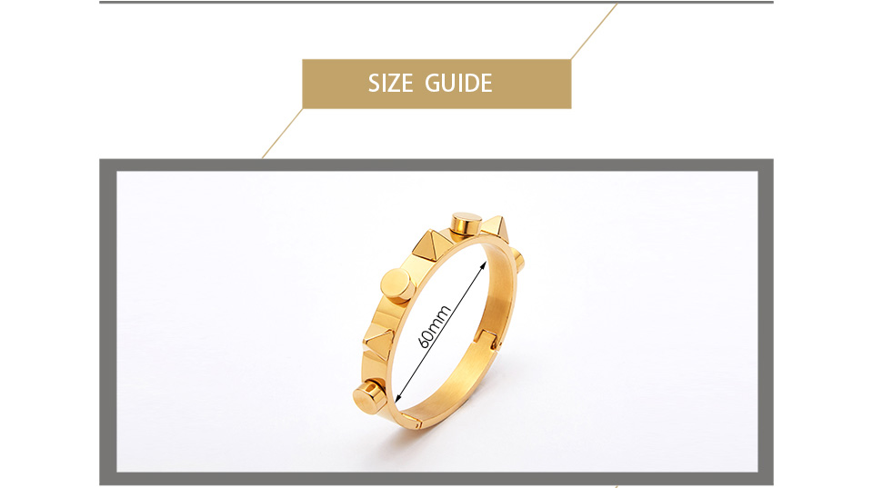 Enfashion Pyramid Cuff Bracelet Manchette Armband Gold color Punk Spike Bangle Bracelet For Women Bracelets Bangles Pulseiras