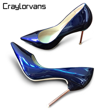 Craylorvans Top Quality Pearl Color Women Pumps Metal Thin Heels Pointed Toe Women Shoes Blue Red Wedding Shoes  Size 33-43