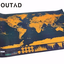 OUTAD Portable Travel Scratch off Maps Poster Traveler Vacation Log Gift Personalized Foil Layer Coating World Map Drop Shipping(China)