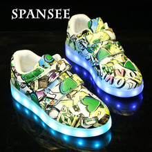 Spansee Children USB Led Shoes with Light Up Sole Kids Boy Girls Glowing Shoes Luminous Sneakers Enfant Tenis LED Slippers 30