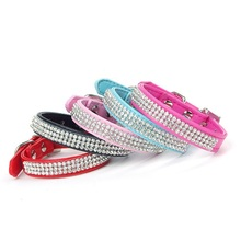 Hot Bling Crystal Rhinestones PU Leather Pet Dog Collars Puppy Cat Choker Necklaces For Small Dog Collar Perro Pet Accessories(China)