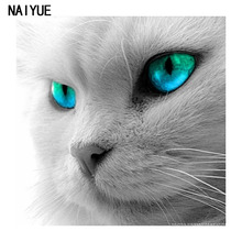 5D DIY Diamond Embroidery Diamond Mosaic Animals Green Eye Cat Gray Cat Head Point Diamond Paste Diamond Painting Cross Stitch