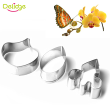 Delidge 3pcs/set Stainless Steel Cookie Cutter 3D Butterfly Orchid Biscuit Fondant Cake Decorating Tools Dessert Baking Tools
