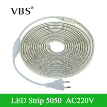 SMD 5050 220V Led Strip Flexible Light 1m-25m White/Warm White/Red/Green/Blue tira led Outdoor Lighting With EU Plug