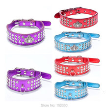 Luxury Pet Dog Collar Bling Crystal Rhinestones Crown Charm Accessories Studded Leather Collars For Small Dogs Diamond Necklace(China)