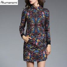 Autumn Winter Dress Abstract Design Print Turtleneck Zipper Pocket Women's Clothes Spring Dress Fashion High Quality Plus Size(China)