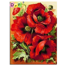 DPF Diy square full Diamond Painting cross stitch Russia Flowers red rose diamond mosaic embroidery canvas home decor painting(China)