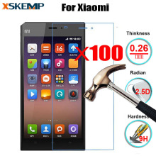 100Pcs Clear Screen Protector For Xiaomi Mi2 Mi3 Mi4 5 Note 4S 5S Plus 5C wholesale 9H Explosion-Proof Real Tempered Glass Film