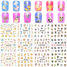 FWC 1 Sheet Pet Cats,Christmas Deer/Elephant Design Beauty Nail Art Tips Sticker Full Wraps Water Transfer Decals A1249-1260(China)