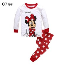 2PCS Kids Baby Pajamas Set Toddler Kid Boys Girls Minnie Mickey Pijamas Long Sleeve Pyjamas set Tops Long Pants Sleepwear 2-7 Y(China)