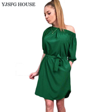YJSFG HOUSE Casual Elegant Women Off Shoulder Tunic Party Dresses 2017 Summer Half Sleeve Beach Dress With Belt Ladies Slim Robe