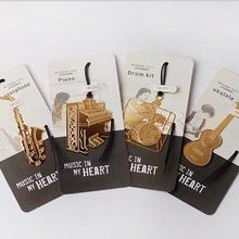 1PC/lot New Vintage musical instrument designs Metal Bookmark DIY Multifunction Gold Book marks fashion gift(China)