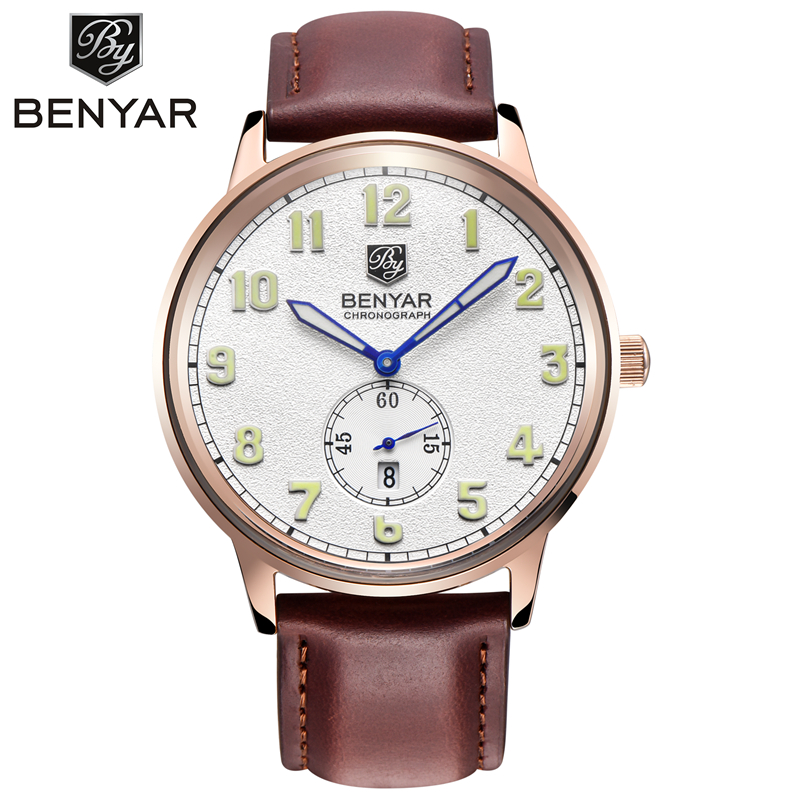 BENYAR luxury brand Calendar watches reloj hombre Stainless Steel Case Leather Bracelet Quartz Mens Watch relogio masculino<br><br>Aliexpress