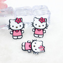 Kawaii cartoon flat back planar resin Hello Kitty Figurine Home decoration craft DIY phone shell hair Bow accessories(China)