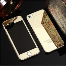 Rose Gold Front Back Mirror 9H Tempered Glass Film Cover For font b iPhone b font
