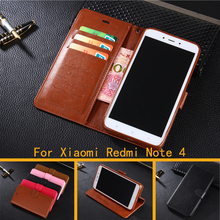 Wallet Case For Xiaomi Redmi Note 4 Chinese Version Flip Cover PU Leather Stand Phone Bags Cases For Redmi Note 4 Pro 5.5''(China)