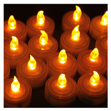 100pcs/lot Flameless Candle Led Long Life Wedding Holiday Party Battery Operated AMBER LED Tealight Candles